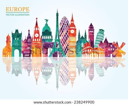 europe skyline detailed