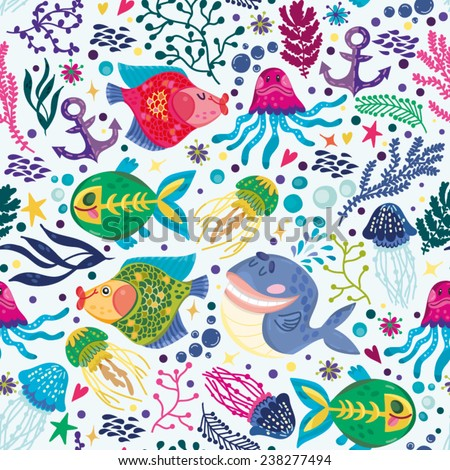 vector seamless pattern of sea