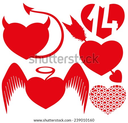 vector set red hearts