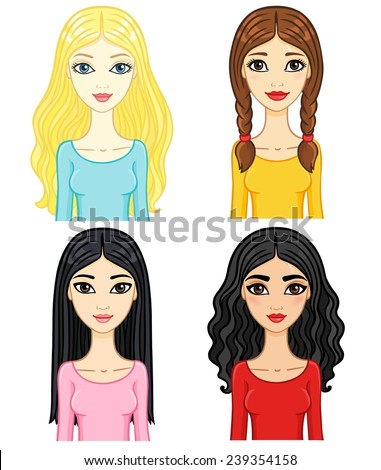 four animation girls of a