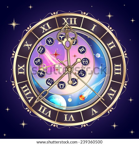 clock with the astrological