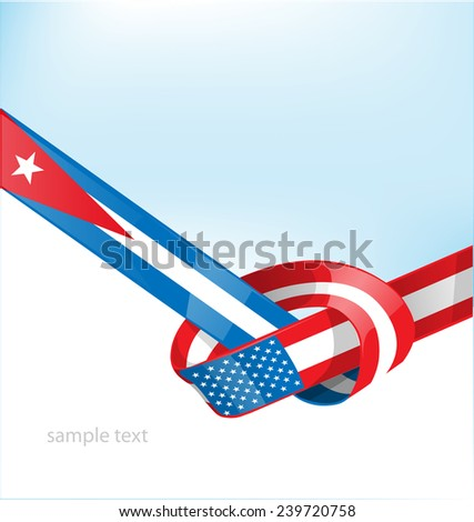 cuba and usa flag on background