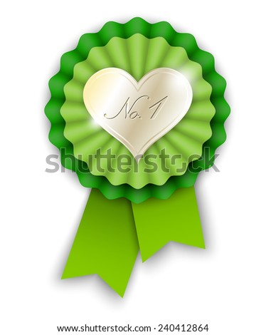 green ribbon rosette with