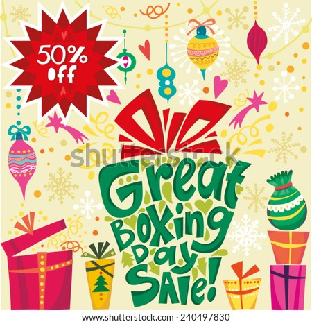 boxing day sale card in vector