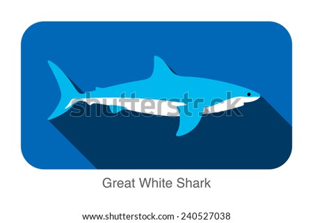 great white shark swimming flat