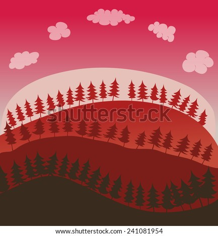 pine trees and hills