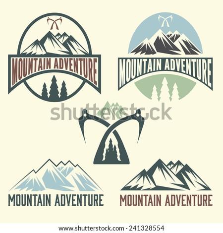 set of vintage labels mountain
