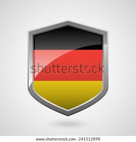 germany flag on a grey shiny