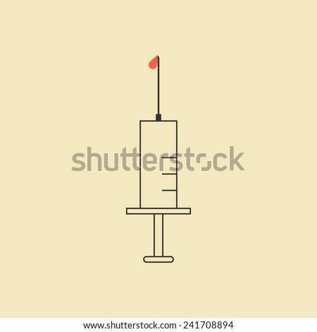 outline syringe icon isolated