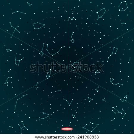 sky map of hemisphere on dark