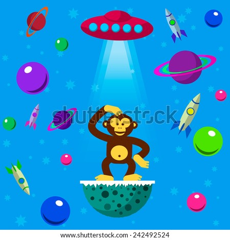 seamless pattern space monkey