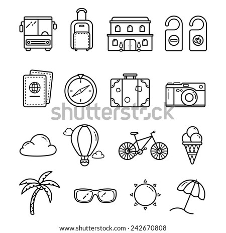 vector traveling line icon set