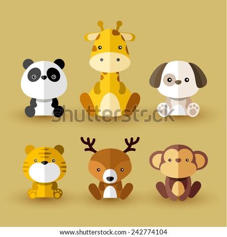 set of animal vectors   yellow