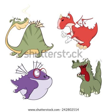 dragons set cartoon