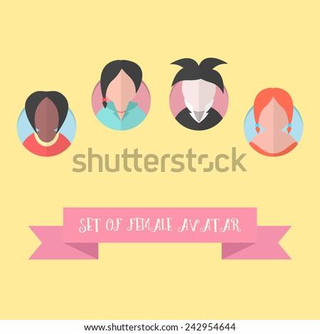 women avatar set with pink