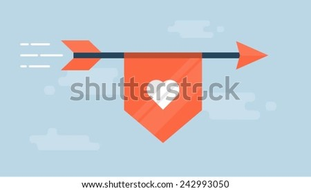 flaying arrow with a ribbon
