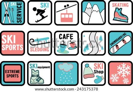 vector ski icons