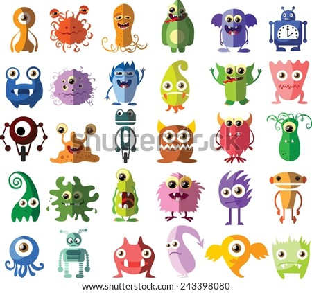 set of vector cute monsters and
