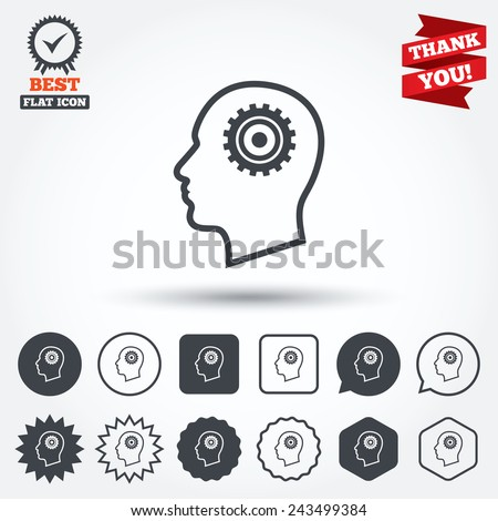 head with gear sign icon male