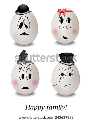 funny eggs  happy family