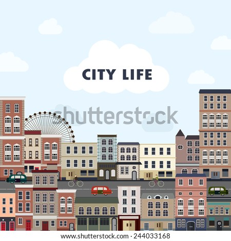 cityscape scenery with colorful