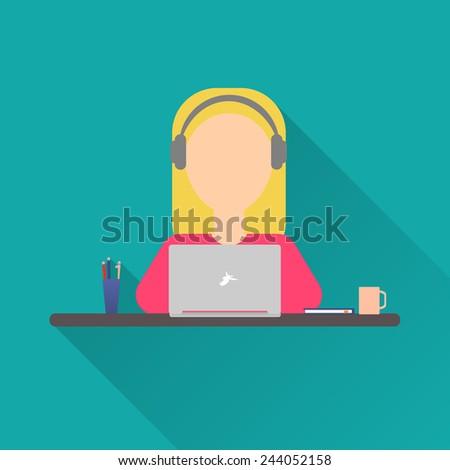 flat icon woman woman working