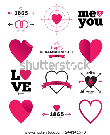 hearts vector icon set  ideal