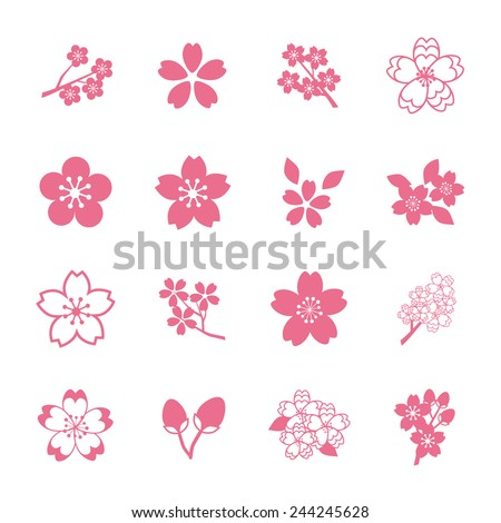cherry blossom icon set