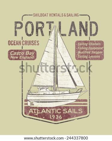 atlantic ocean sailing artwork