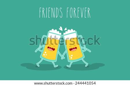 vector cartoon drink beer