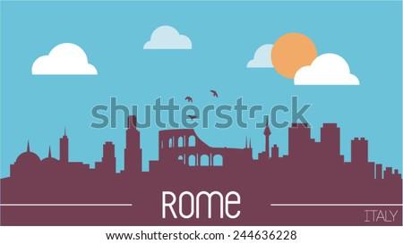 rome italy skyline silhouette