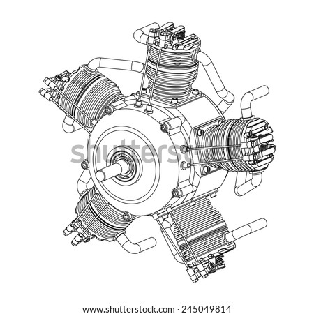 radial cylinder engine vector