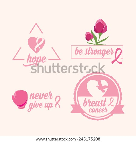 breast cancer set of stickers
