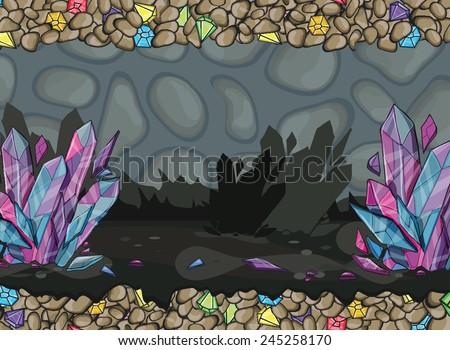 cartoon of underground cave