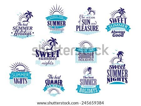 summer holidays labels or