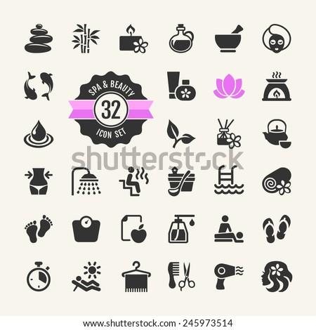 spa   beauty   vector icons set