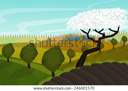 vector spring landscape