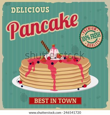 pancake retro poster in vintage