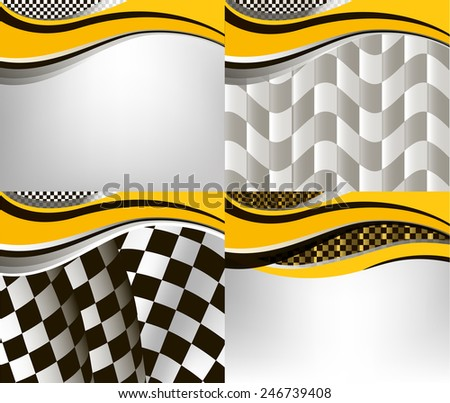 set of checkered vector flag