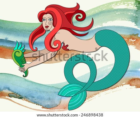 redhead mermaid with curly hair