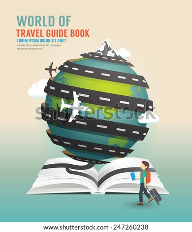 world travel design open book