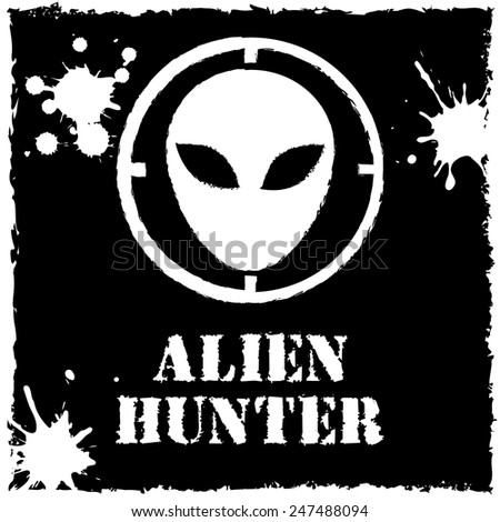vector alien hunter logo on