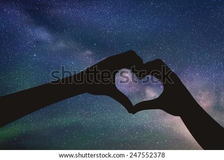 hands in shape of heart vector
