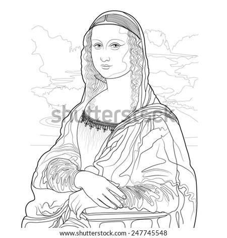 mona lisa outline drawing