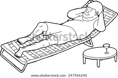 outline drawing of man sleeping