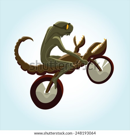 lizard rides a scorpion bike