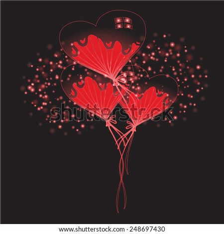 abstract flower hearts vector