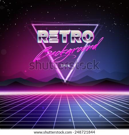 80s retro sci fi background