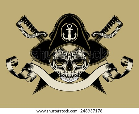 illustration of pirate skull