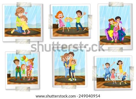 set of family photos on a white